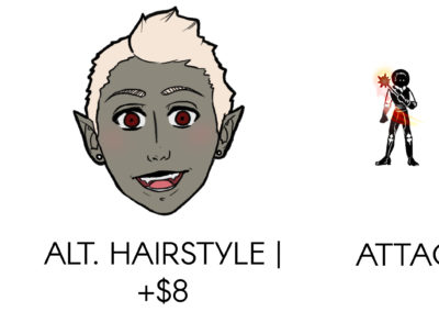Character Sheet Pricing Detail Alt. Hairstyle and Attack Keyshots